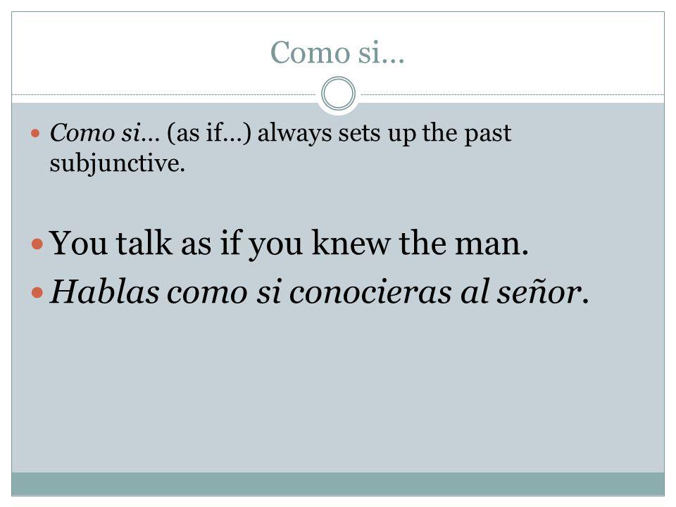 Como si… Como si… (as if…) always sets up the past subjunctive. You talk as if you knew the man. Hablas como si conocieras al señor.