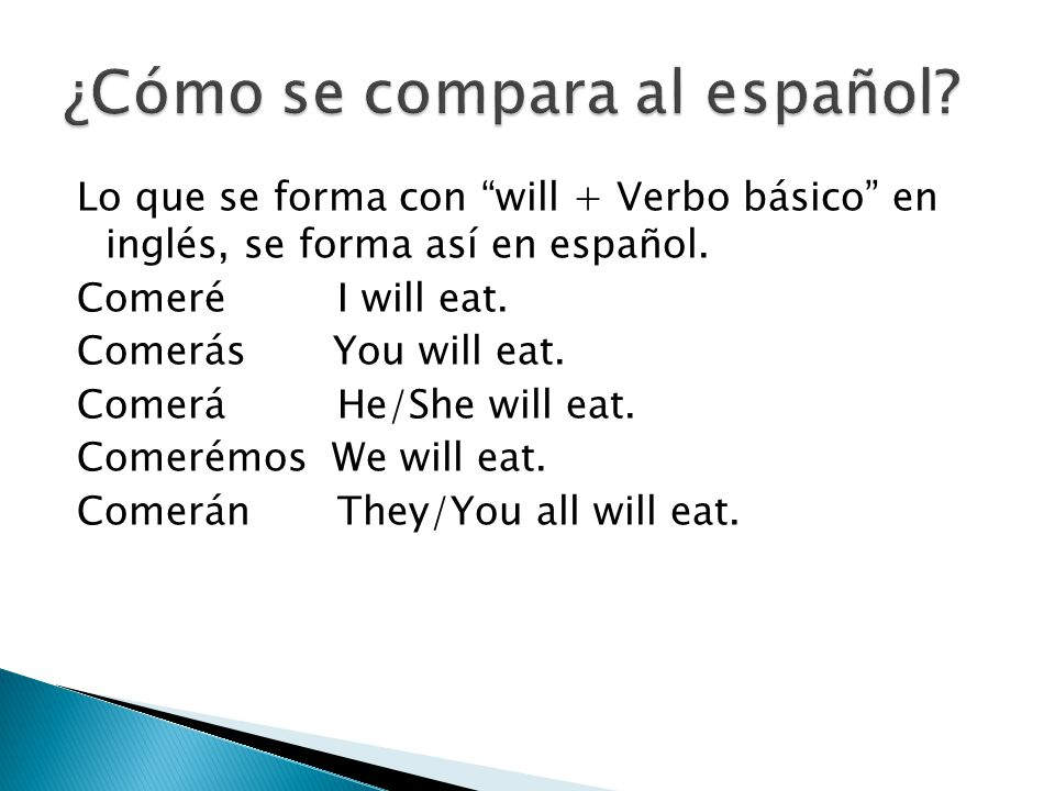 Lo que se forma con will + Verbo básico en inglés, se forma así en español. Comeré I will eat. Comerás You will eat. Comerá He/She will eat. Comerémos