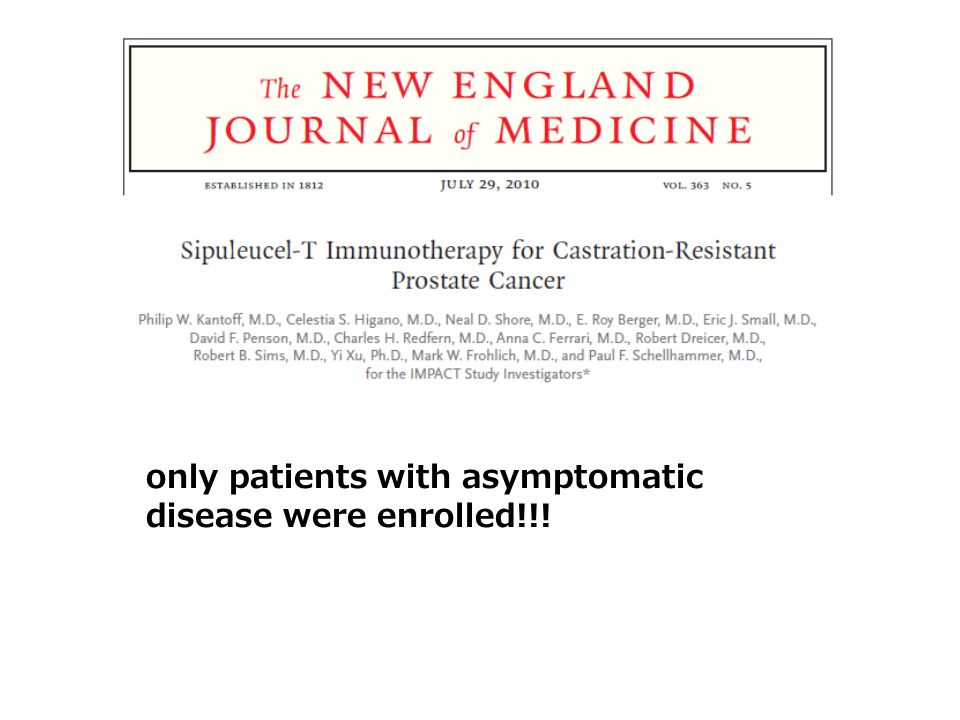 only patients with asymptomatic disease were enrolled!!!