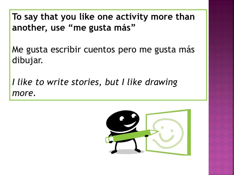 To say that you dont like an activity, use no me gusta No me gusta jugar videojuegos.