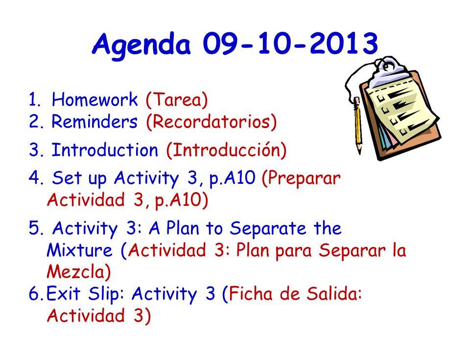 Agenda 09-10-2013 1. Homework (Tarea) 2. Reminders (Recordatorios) 3. Introduction (Introducción) 4. Set up Activity 3, p.A10 (Preparar Actividad 3, p