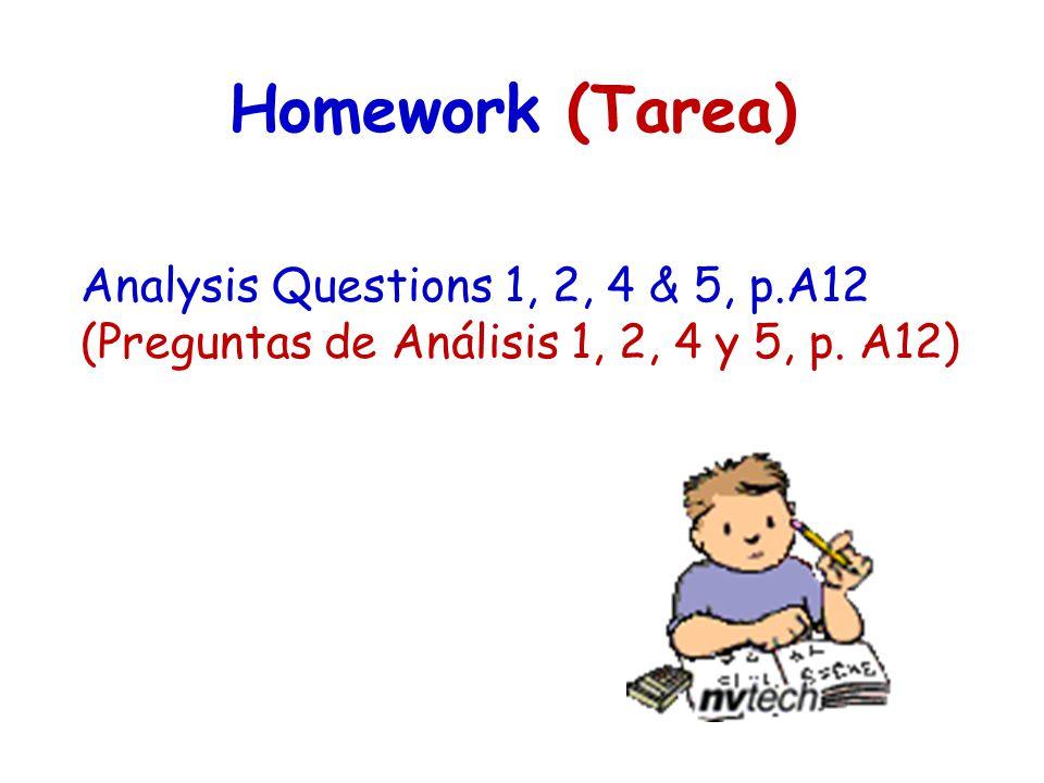Homework (Tarea) Analysis Questions 1, 2, 4 & 5, p.A12 (Preguntas de Análisis 1, 2, 4 y 5, p. A12)
