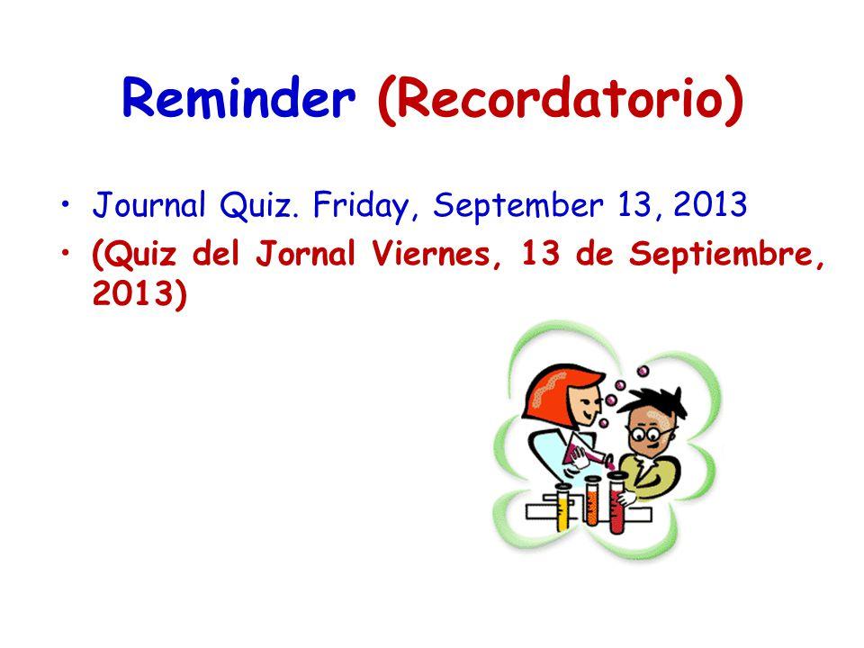 Reminder (Recordatorio) Journal Quiz. Friday, September 13, 2013 (Quiz del Jornal Viernes, 13 de Septiembre, 2013)