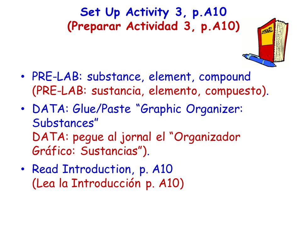 Set Up Activity 3, p.A10 (Preparar Actividad 3, p.A10) PRE-LAB: substance, element, compound (PRE-LAB: sustancia, elemento, compuesto). DATA: Glue/Pas