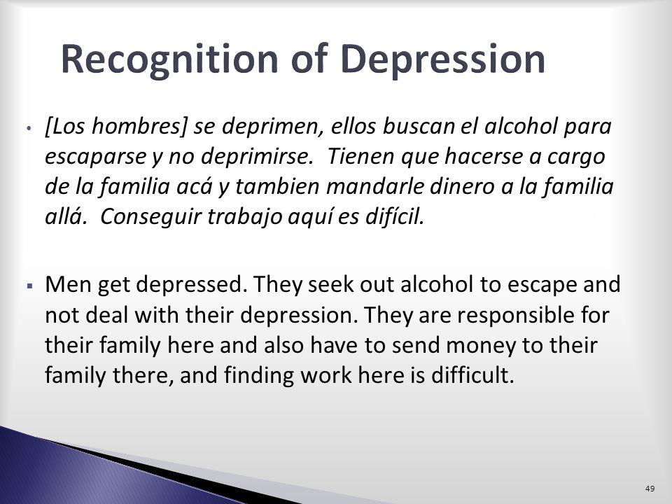 [Los hombres] se deprimen, ellos buscan el alcohol para escaparse y no deprimirse. Tienen que hacerse a cargo de la familia acá y tambien mandarle din
