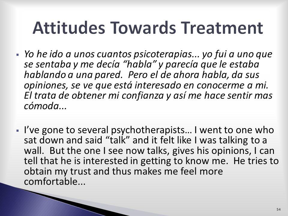 Yo he ido a unos cuantos psicoterapias... yo fui a uno que se sentaba y me decía habla y parecía que le estaba hablando a una pared. Pero el de ahora