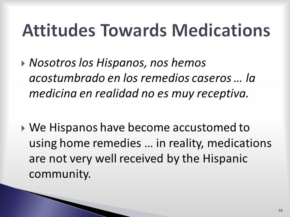 Nosotros los Hispanos, nos hemos acostumbrado en los remedios caseros … la medicina en realidad no es muy receptiva. We Hispanos have become accustome