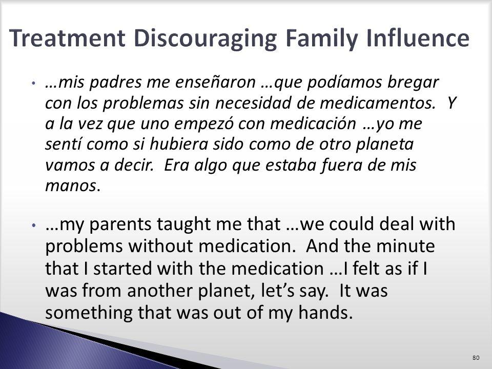 …mis padres me enseñaron …que podíamos bregar con los problemas sin necesidad de medicamentos. Y a la vez que uno empezó con medicación …yo me sentí c