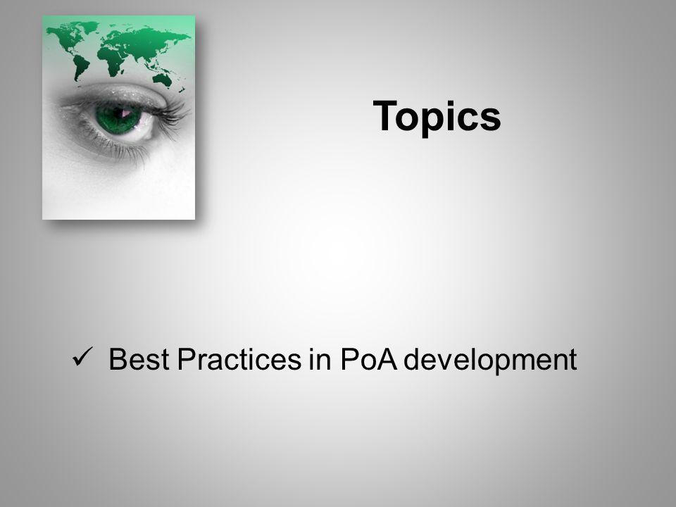Topics Best Practices in PoA development
