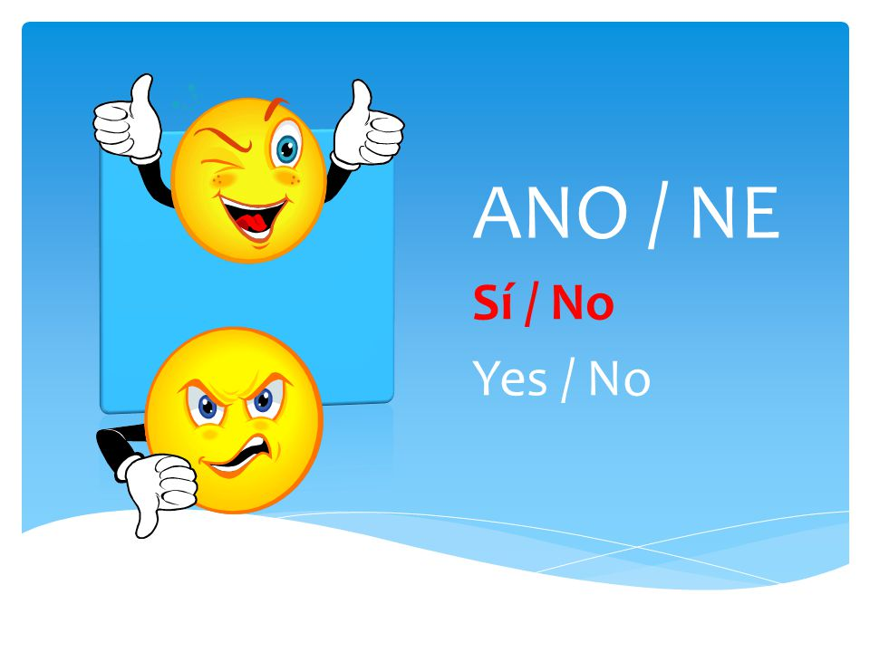 ANO / NE Sí / No Yes / No