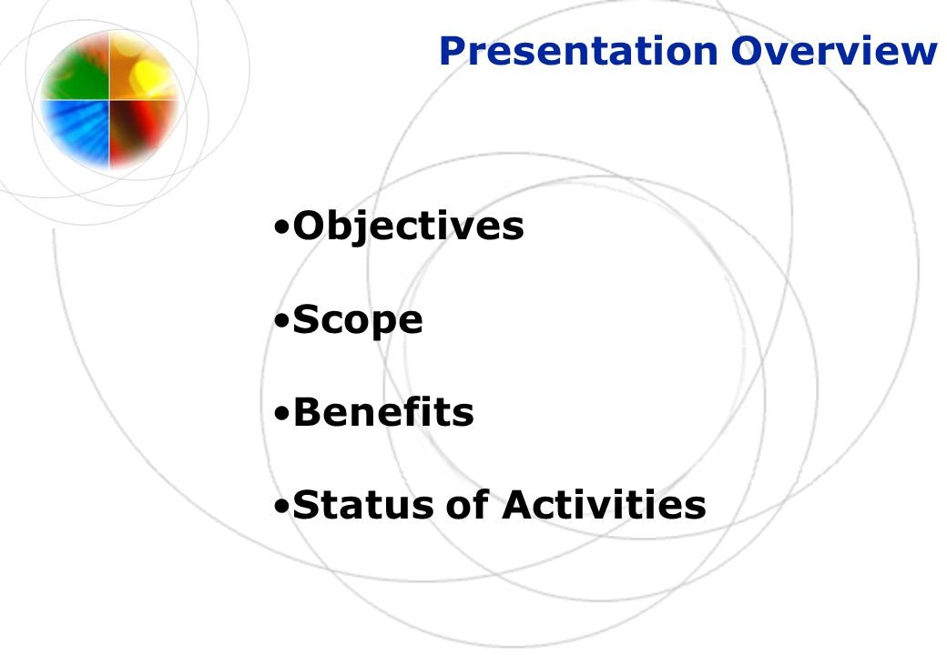Presentation Overview Objectives Scope Benefits Status of Activities