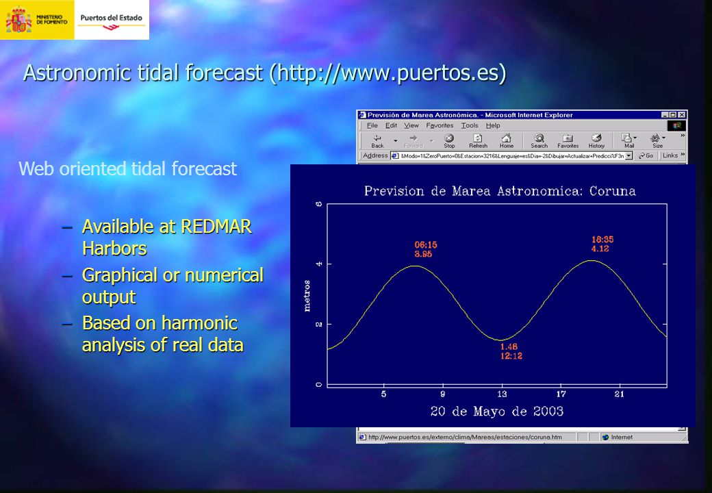 Astronomic tidal forecast (http://www.puertos.es) –Available at REDMAR Harbors –Graphical or numerical output –Based on harmonic analysis of real data Web oriented tidal forecast