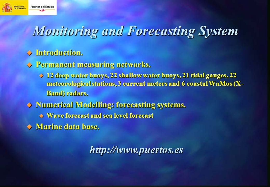 Monitoring and Forecasting System Introduction. Introduction. Permanent measuring networks. Permanent measuring networks. 12 deep water buoys, 22 shal