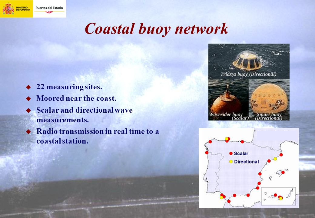 Coastal buoy network 22 measuring sites. Moored near the coast. Scalar and directional wave measurements. Radio transmission in real time to a coastal