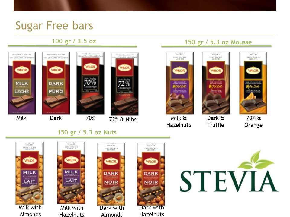 Sugar Free bars Milk 150 gr / 5.3 oz Mousse Milk & Hazelnuts Dark70% 100 gr / 3.5 oz Dark & Truffle 70% & Orange 72% & Nibs 150 gr / 5.3 oz Nuts Milk
