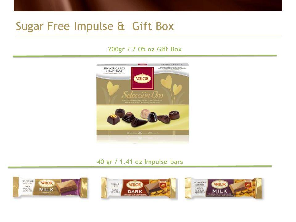 Sugar Free Impulse & Gift Box 40 gr / 1.41 oz Impulse bars 200gr / 7.05 oz Gift Box