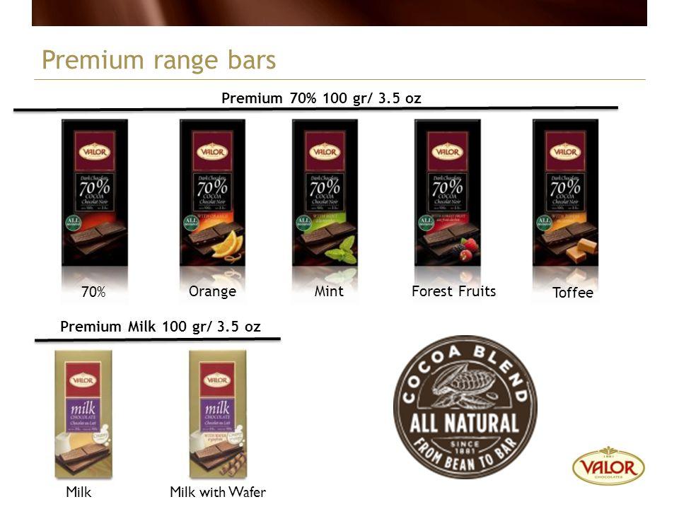 Premium Milk 100 gr/ 3.5 oz Premium range bars Premium 70% 100 gr/ 3.5 oz MintOrange 70% Forest Fruits Toffee MilkMilk with Wafer