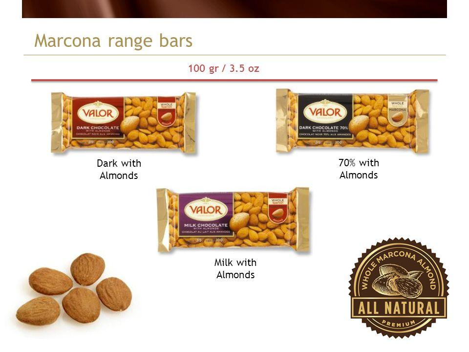 Marcona range bars Dark with Almonds 100 gr / 3.5 oz 70% with Almonds Milk with Almonds