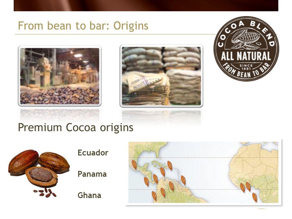 Ecuador Panama Ghana From bean to bar: Origins Premium Cocoa origins
