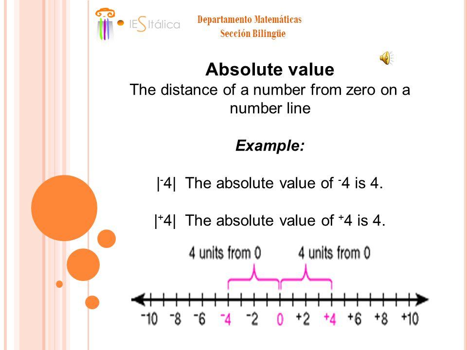 Departamento Matemáticas Sección Bilingüe Absolute value The distance of a number from zero on a number line Example: | - 4| The absolute value of - 4 is 4.