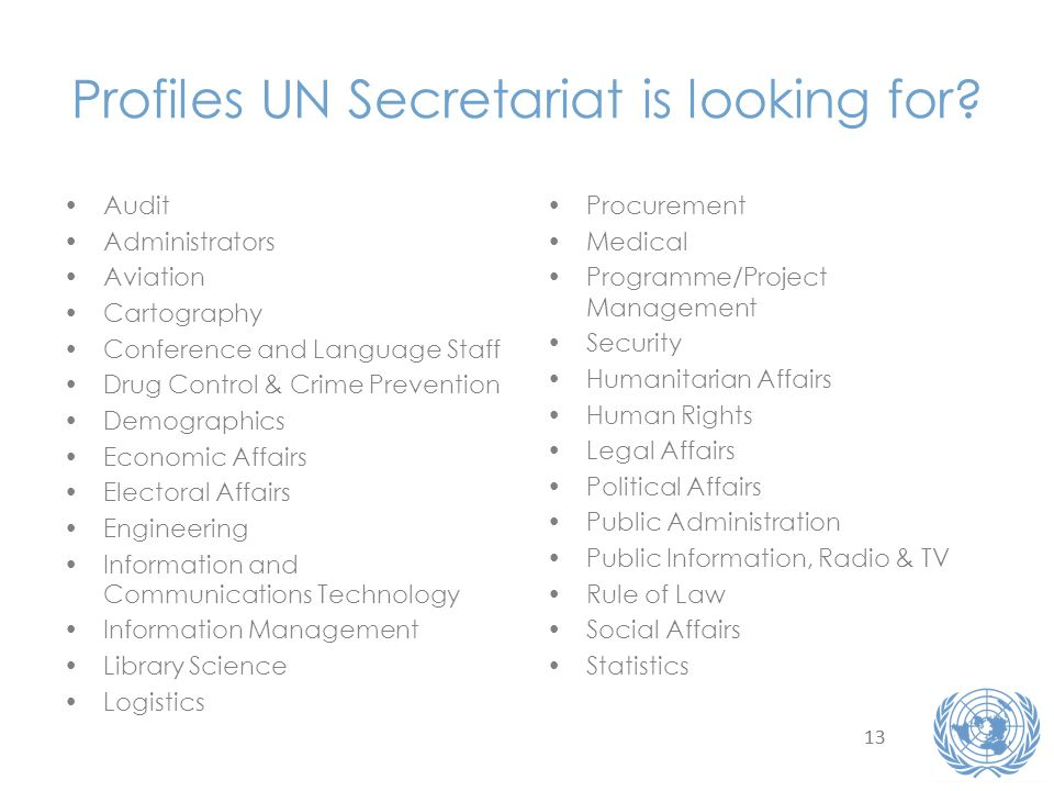 Profiles UN Secretariat is looking for.