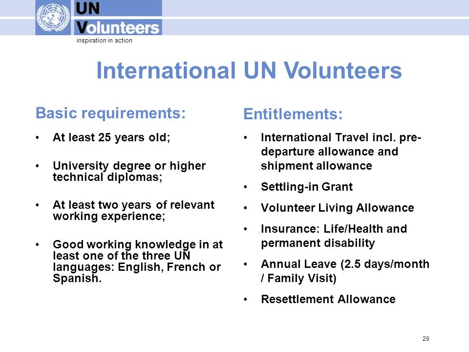 inspiration in action International UN Volunteers Basic requirements: At least 25 years old; University degree or higher technical diplomas; At least two years of relevant working experience; Good working knowledge in at least one of the three UN languages: English, French or Spanish.