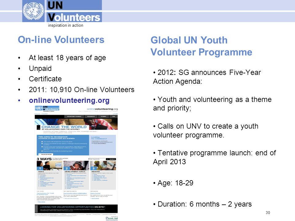 inspiration in action On-line Volunteers Global UN Youth Volunteer Programme 2012: SG announces Five-Year Action Agenda: Youth and volunteering as a theme and priority; Calls on UNV to create a youth volunteer programme.