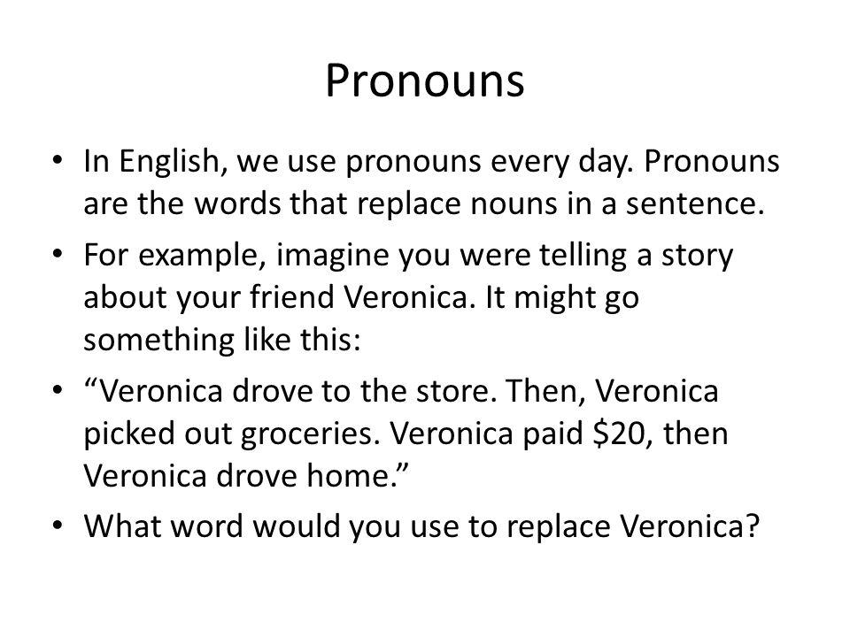 Pronouns Subject pronouns answer the question, WHO.