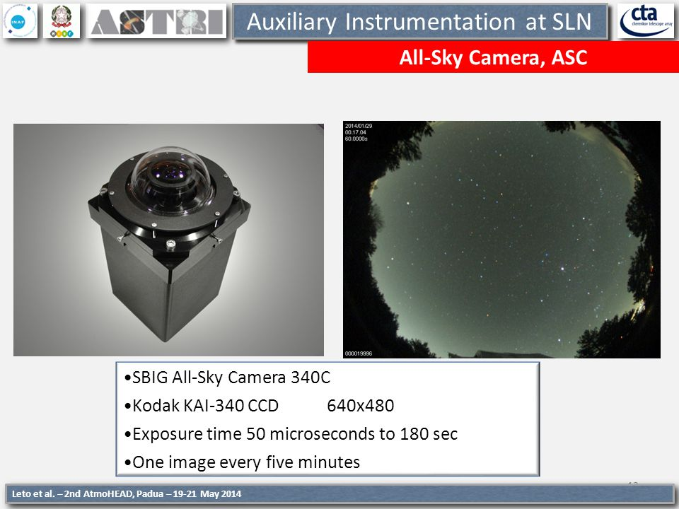 13 Auxiliary Instrumentation at SLN All-Sky Camera, ASC SBIG All-Sky Camera 340C Kodak KAI-340 CCD 640x480 Exposure time 50 microseconds to 180 sec On