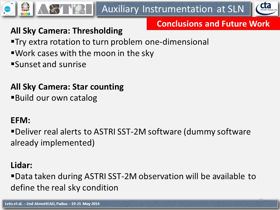 Auxiliary Instrumentation at SLN Conclusions and Future Work 29 Leto et al. – 2nd AtmoHEAD, Padua – 19-21 May 2014 All Sky Camera: Thresholding Try ex