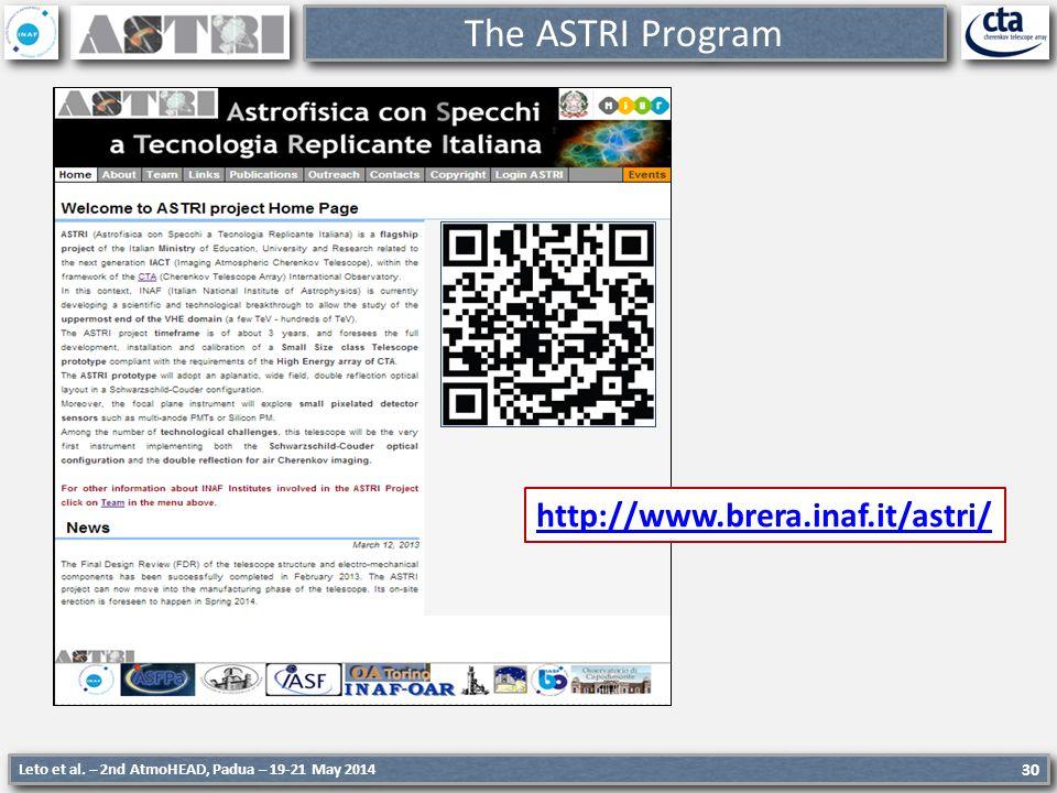 Leto et al. – 2nd AtmoHEAD, Padua – 19-21 May 2014 30 The ASTRI Program http://www.brera.inaf.it/astri/