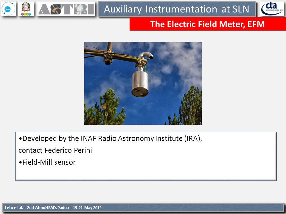 8 Auxiliary Instrumentation at SLN EFM at work Etna Eruption 23 November, 2013 8 8 Leto et al.