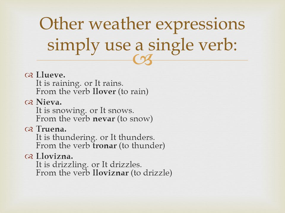 Llueve.It is raining. or It rains. From the verb llover (to rain) Nieva.