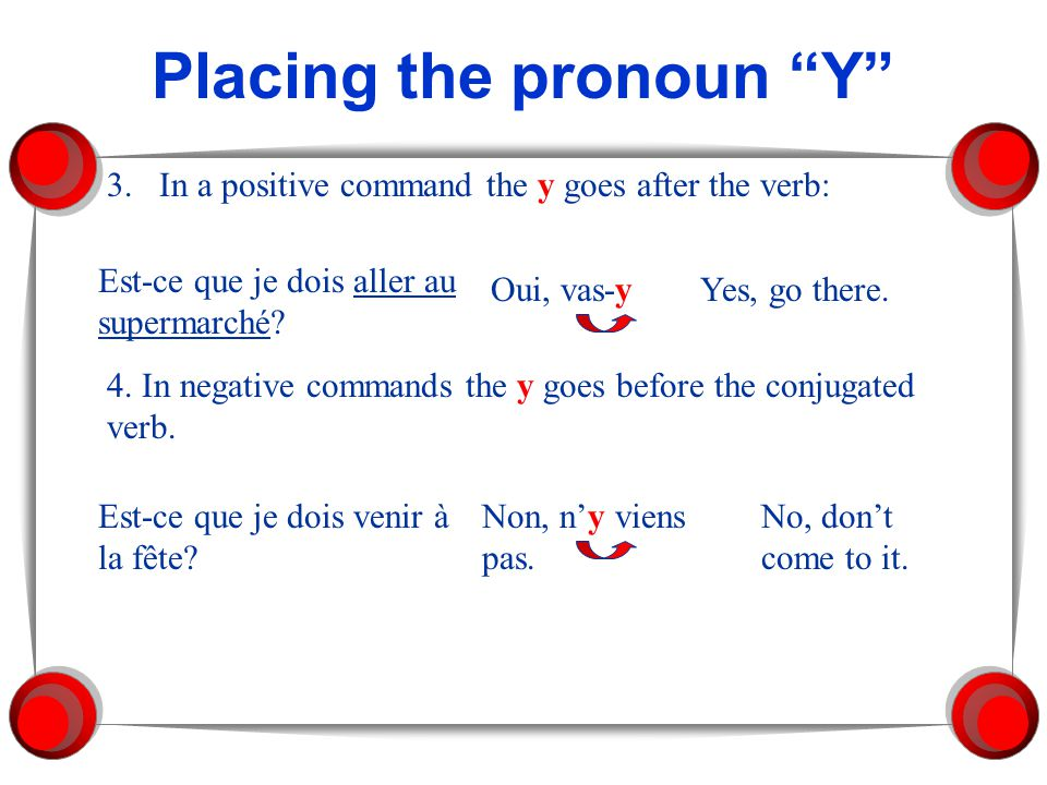 Placing the pronoun Y 3.In a positive command the y goes after the verb: Est-ce que je dois aller au supermarché? Oui, vas-yYes, go there. 4. In negat