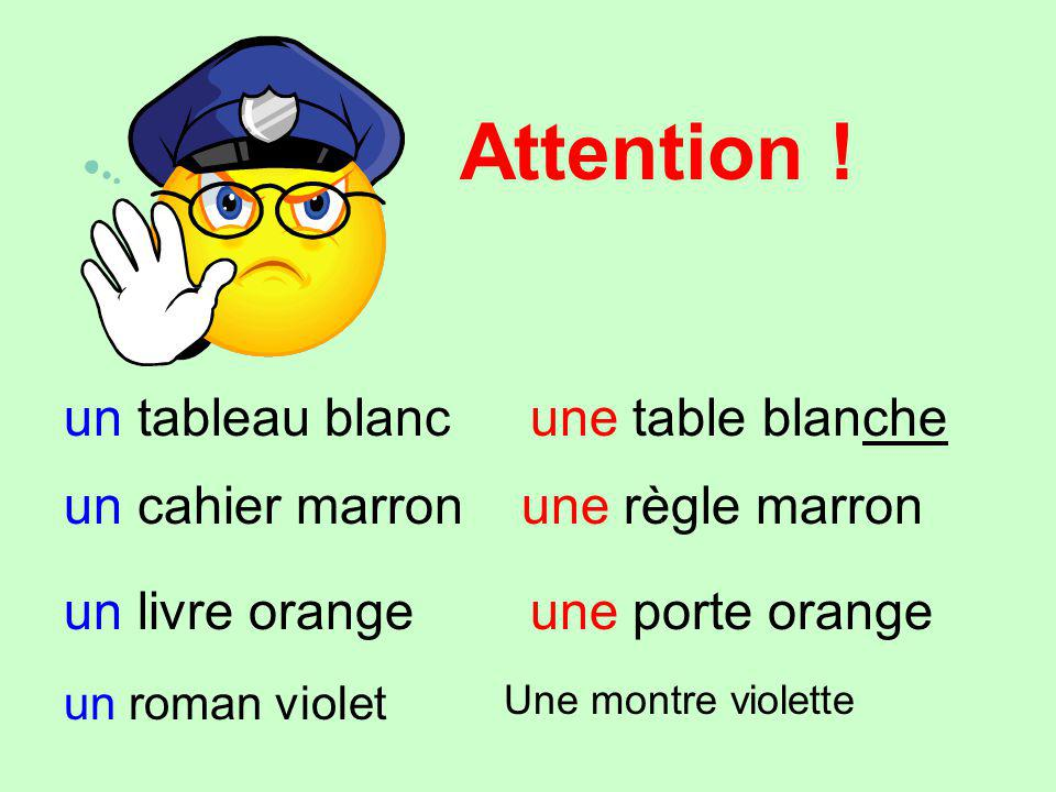 Attention ! un tableau blancune table blanche un cahier marronune règle marron un livre orangeune porte orange un roman violet Une montre violette
