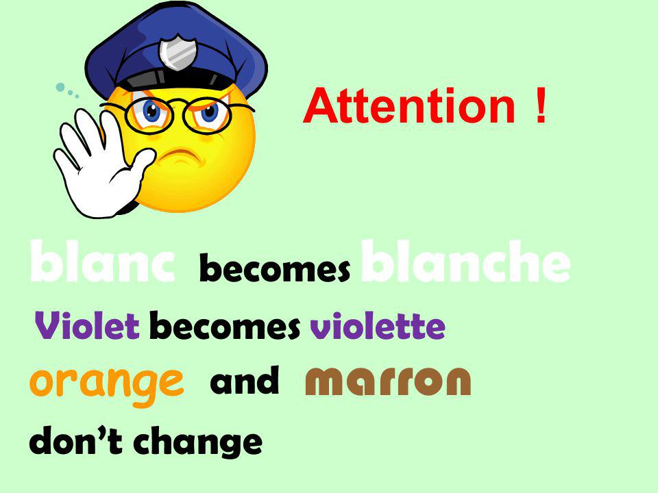 blanc marron orange becomes blanche and dont change Attention ! Violet becomes violette