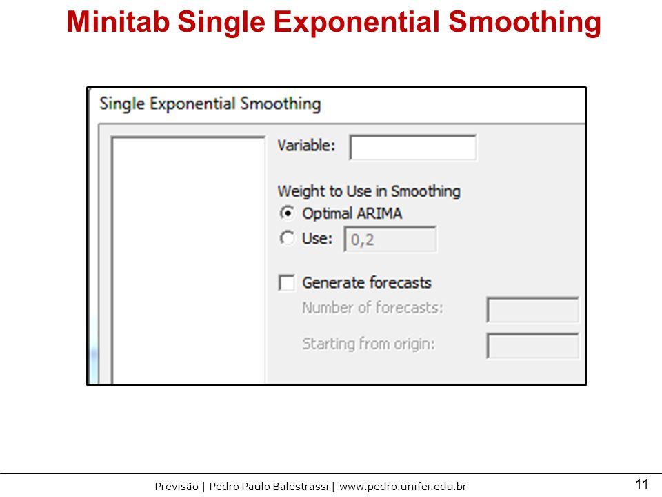 11 Previsão | Pedro Paulo Balestrassi | www.pedro.unifei.edu.br Minitab Single Exponential Smoothing