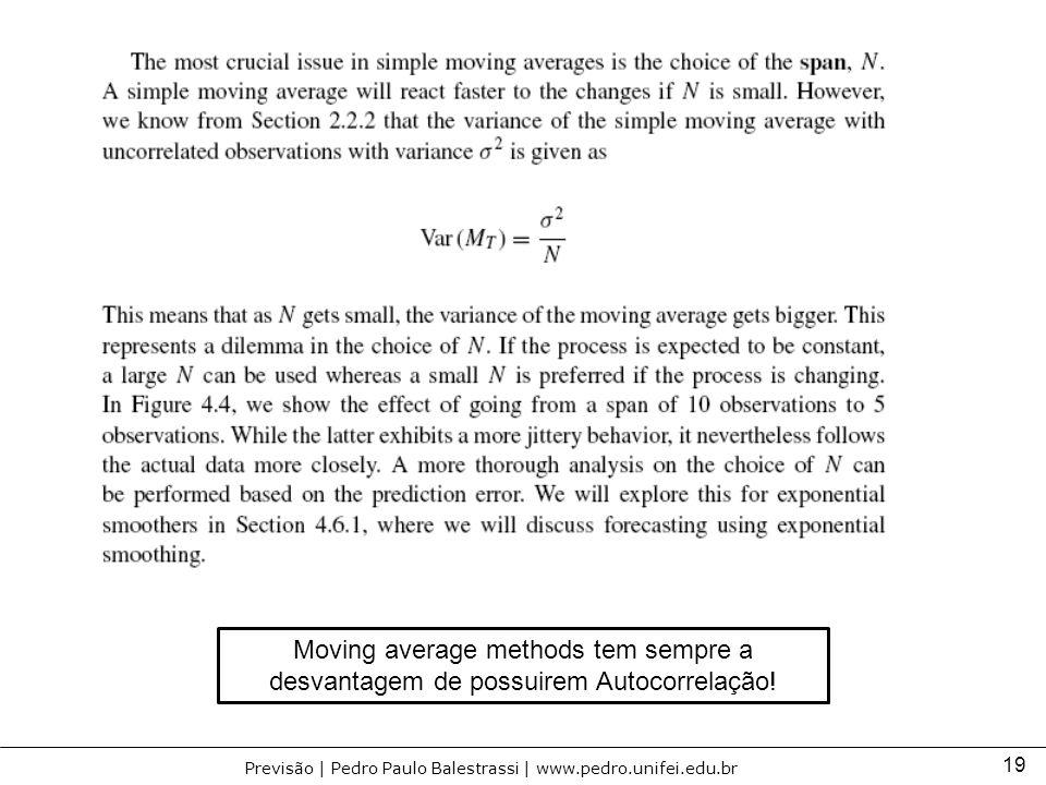 19 Previsão | Pedro Paulo Balestrassi | www.pedro.unifei.edu.br Moving average methods tem sempre a desvantagem de possuirem Autocorrelação!