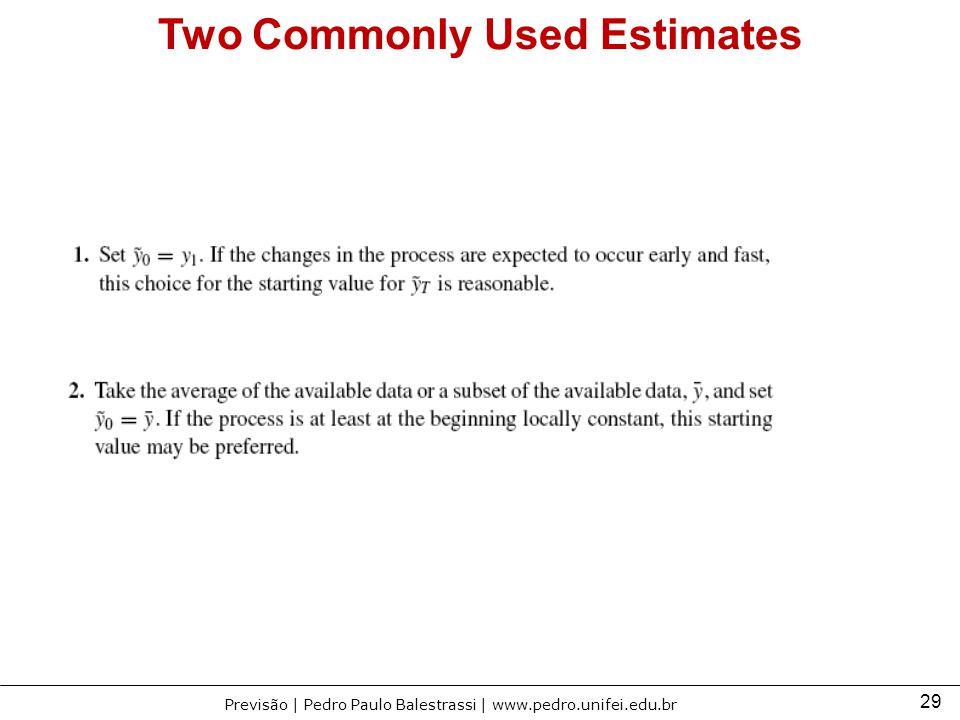29 Previsão | Pedro Paulo Balestrassi | www.pedro.unifei.edu.br Two Commonly Used Estimates