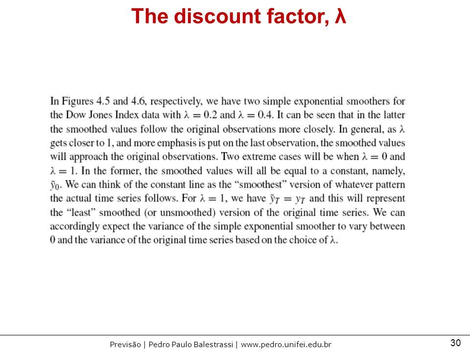 30 Previsão | Pedro Paulo Balestrassi | www.pedro.unifei.edu.br The discount factor, λ