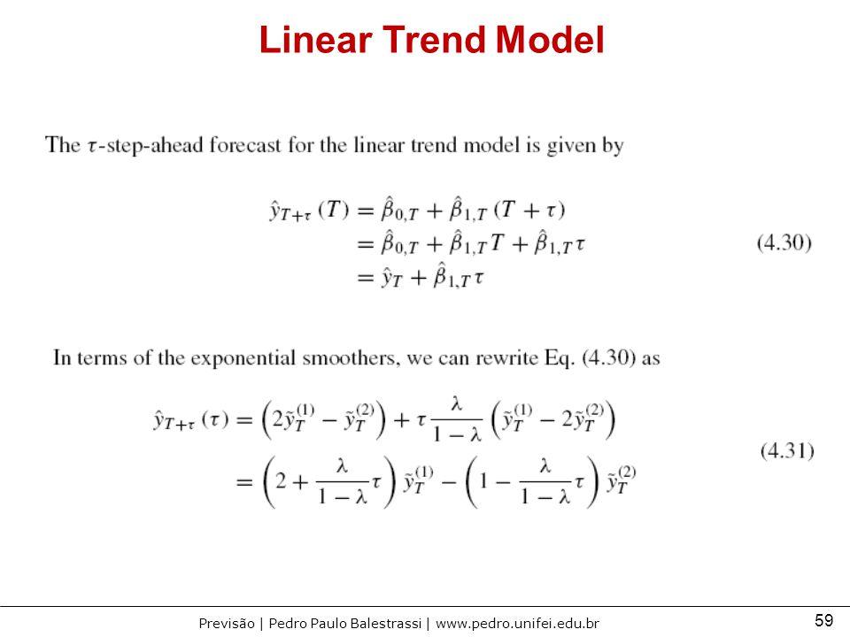 59 Previsão | Pedro Paulo Balestrassi | www.pedro.unifei.edu.br Linear Trend Model