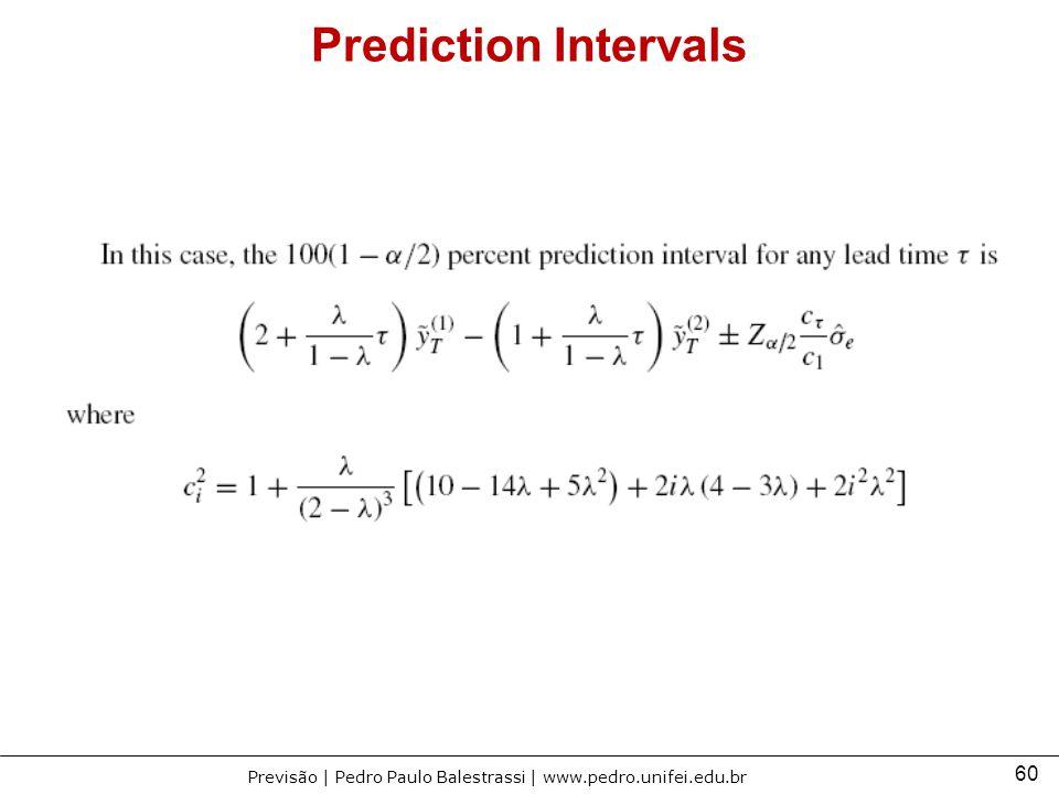 60 Previsão | Pedro Paulo Balestrassi | www.pedro.unifei.edu.br Prediction Intervals