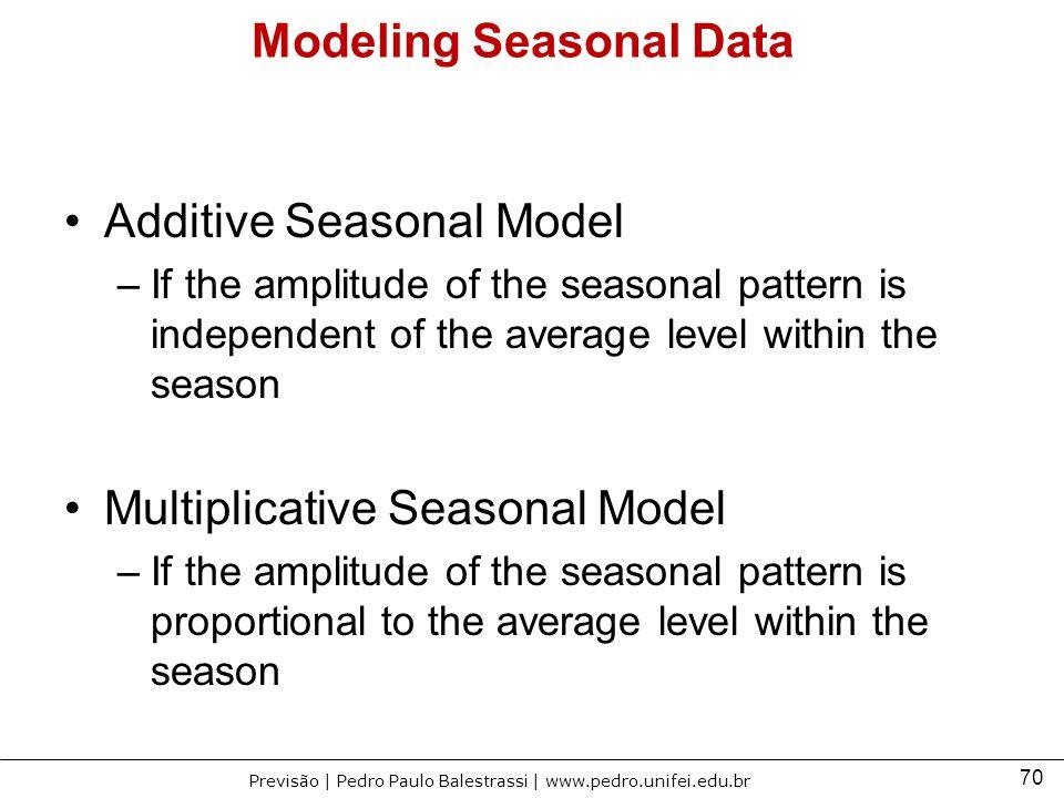 70 Previsão | Pedro Paulo Balestrassi | www.pedro.unifei.edu.br Modeling Seasonal Data Additive Seasonal Model –If the amplitude of the seasonal patte
