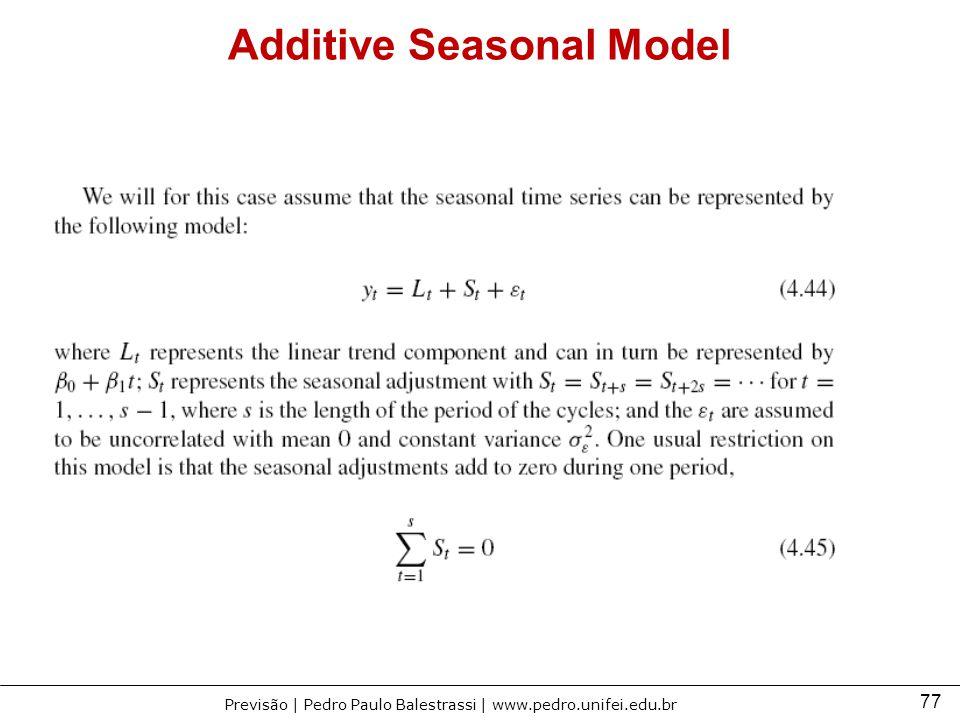 77 Previsão | Pedro Paulo Balestrassi | www.pedro.unifei.edu.br Additive Seasonal Model