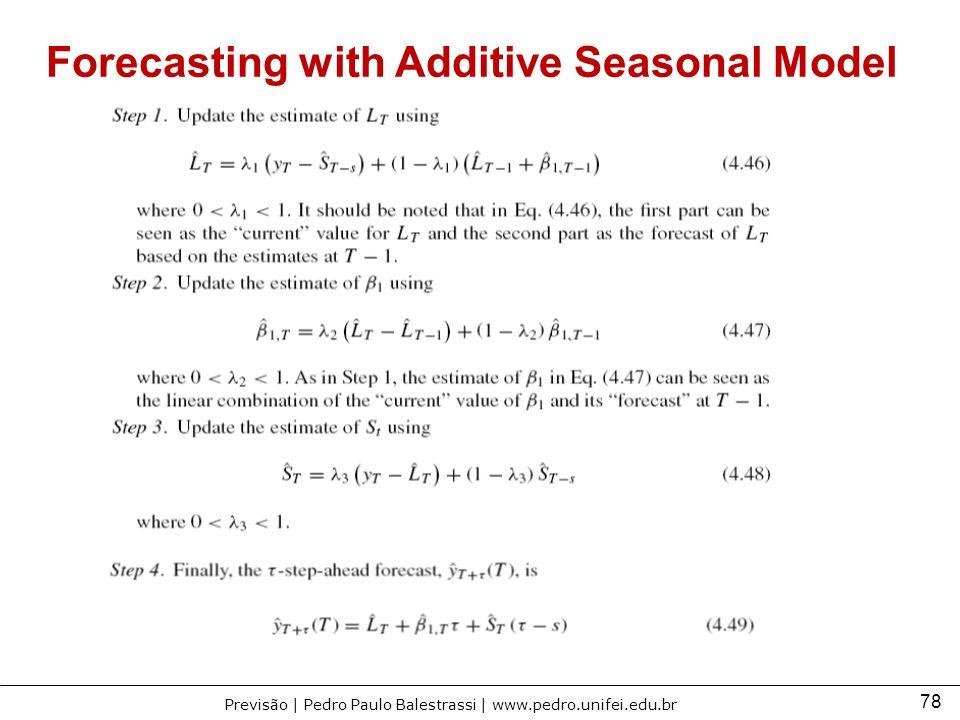 78 Previsão | Pedro Paulo Balestrassi | www.pedro.unifei.edu.br Forecasting with Additive Seasonal Model