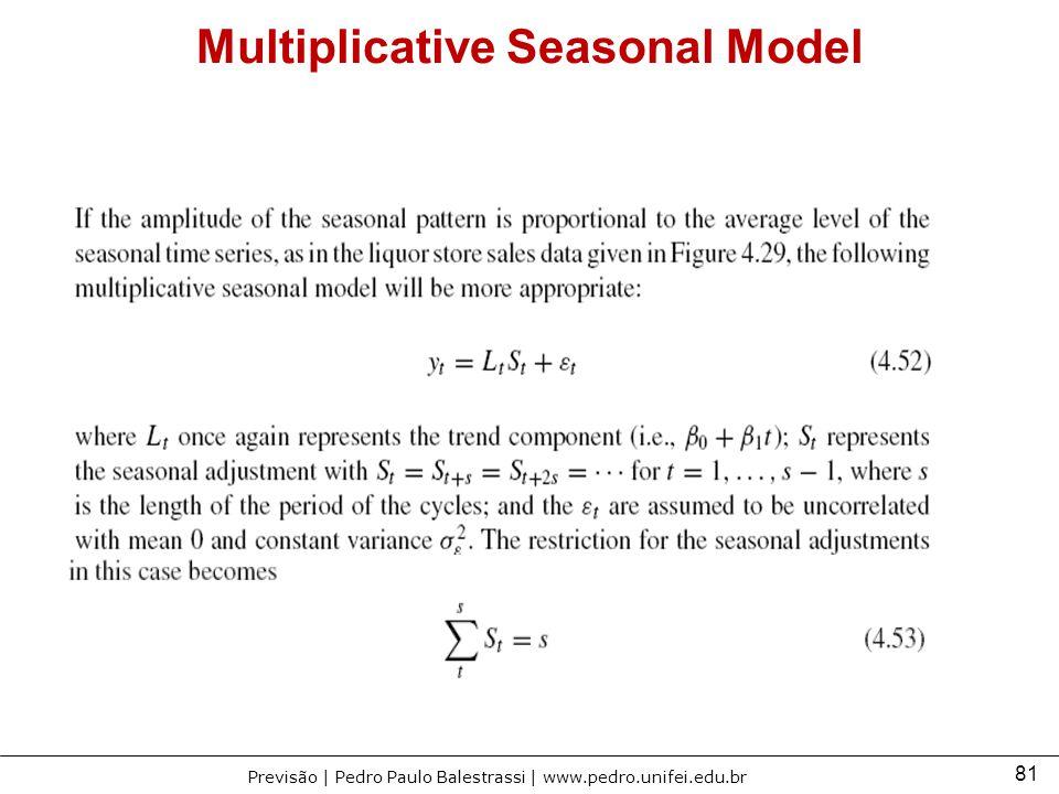 81 Previsão | Pedro Paulo Balestrassi | www.pedro.unifei.edu.br Multiplicative Seasonal Model