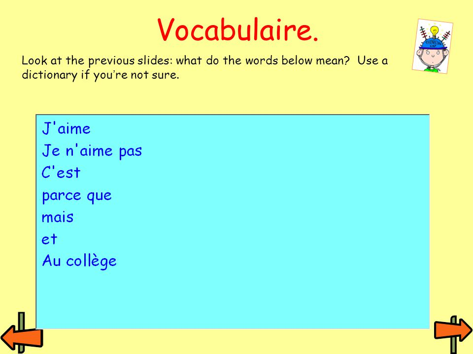 Vocabulaire. Look at the previous slides: what do the words below mean.