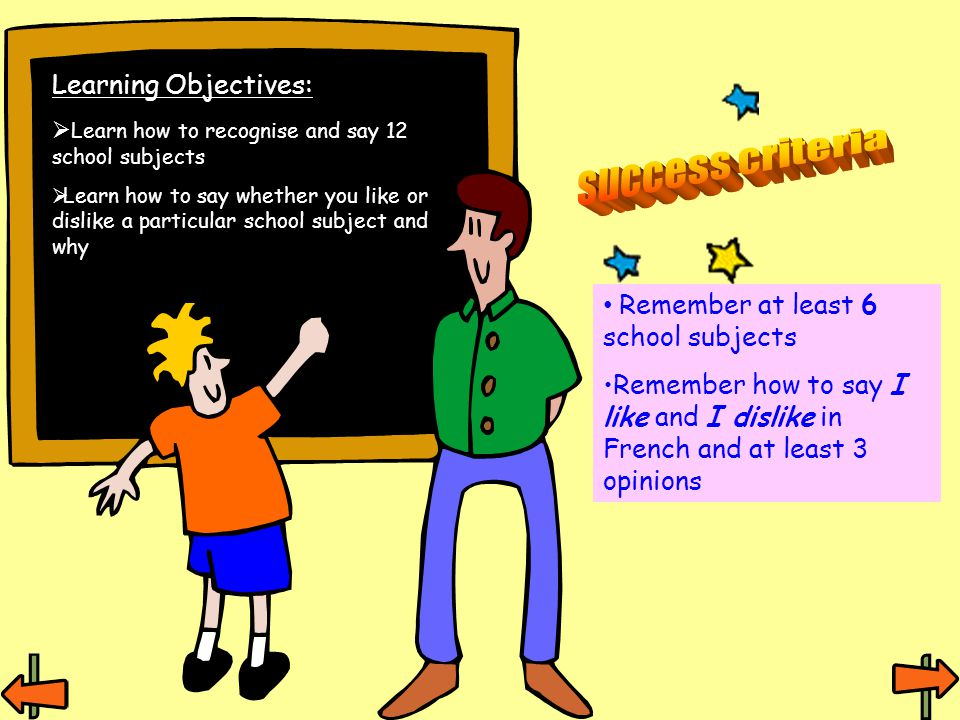 Learning Objectives: Learn how to recognise and say 12 school subjects Learn how to say whether you like or dislike a particular school subject and why Remember at least 6 school subjects Remember how to say I like and I dislike in French and at least 3 opinions