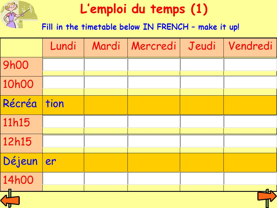 Lemploi du temps (1) LundiMardiMercrediJeudiVendredi 9h00 10h00 Récréation 11h15 12h15 Déjeuner 14h00 Fill in the timetable below IN FRENCH – make it up!