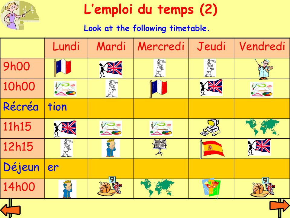 LundiMardiMercrediJeudiVendredi 9h00 10h00 Récréation 11h15 12h15 Déjeuner 14h00 Lemploi du temps (2) Look at the following timetable.
